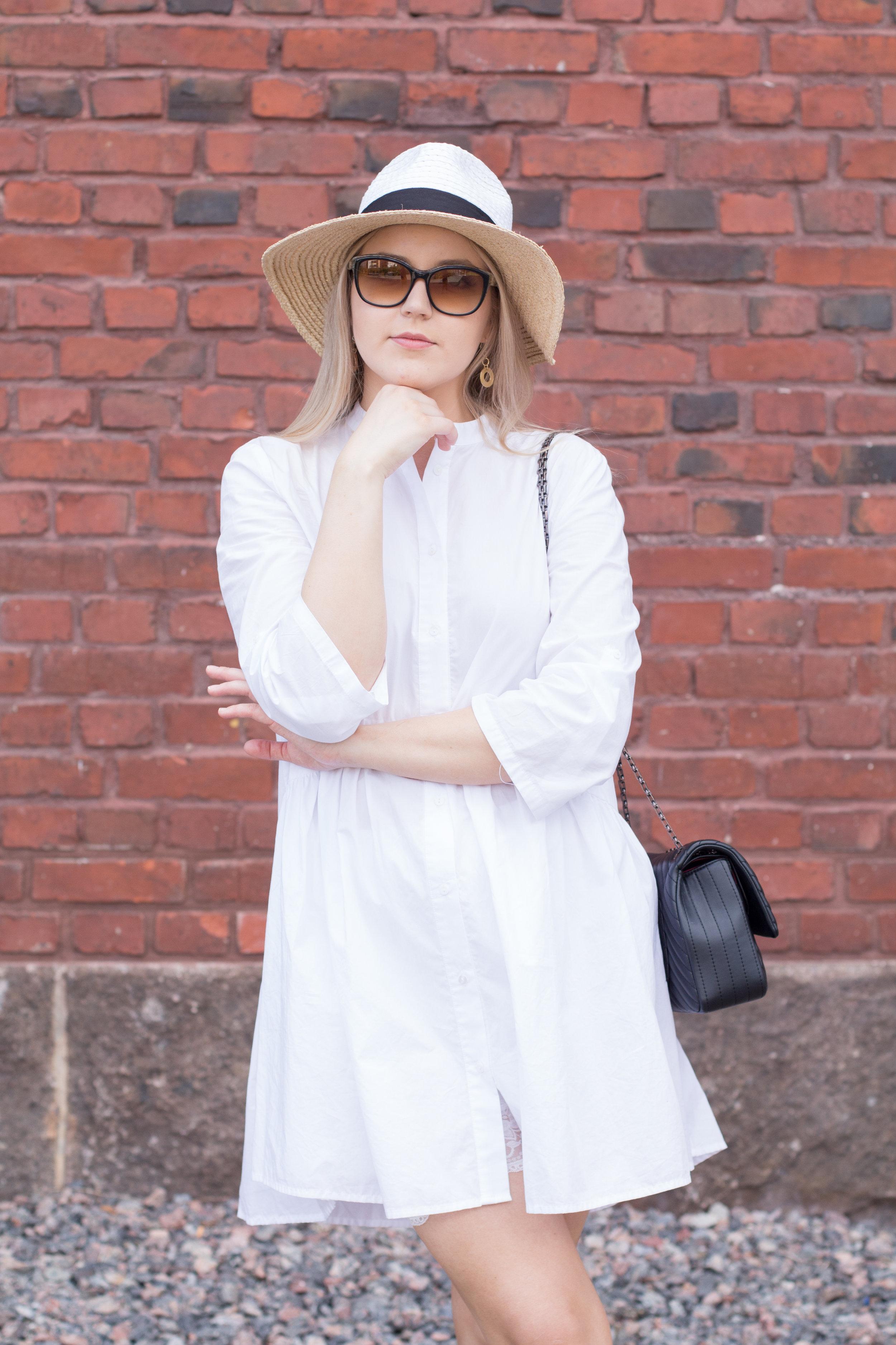 white summer dress sunglasses outfitjpg