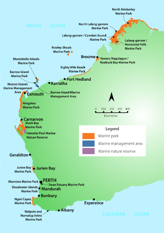 "WA's MPA network. As well as Hamelin Pool Marine Nature Reserve, WA's marine reserves are known as ""sanctuary zones"" and form part of most marine parks. Image: WA Parks and Wildlife Service"