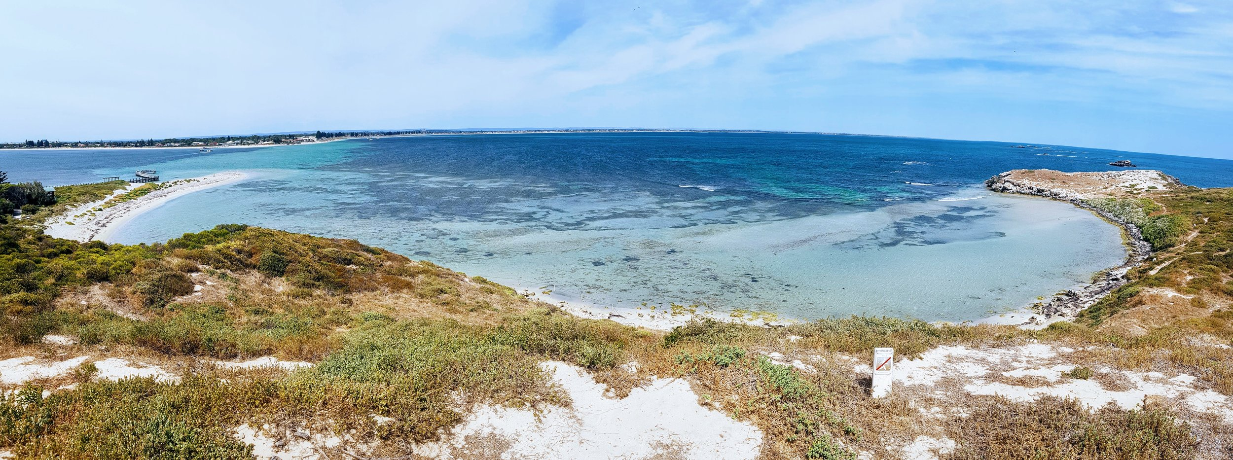Penguin Island Panorama, looking back towards Rockingham and mainland