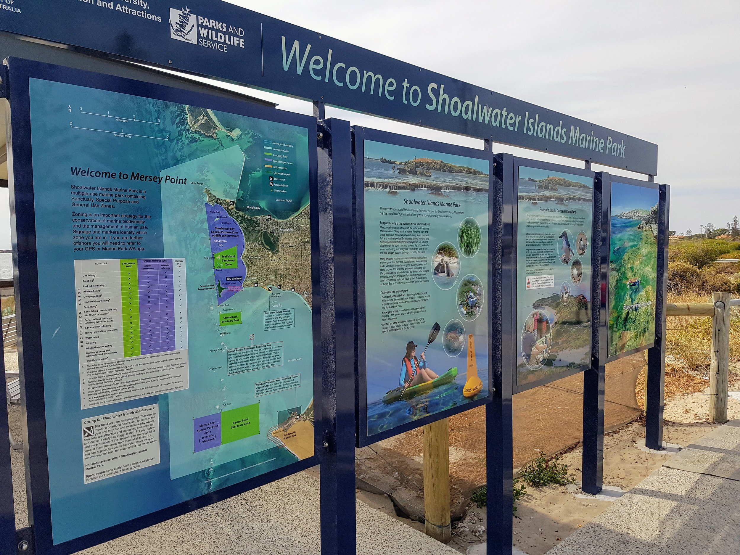Great signage as you face the marine park.