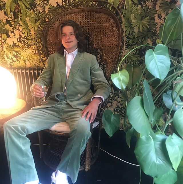 Prom night for this beautiful young man. In his grandfathers suit that I wear. 1970's velvet, Saville Row,  it might be a bit warm for this beautiful evening but he looks fantastic. So proud. 💚💚💚 good quality clothes are heirlooms. Buy well and save for your children's children.  #prom #kids #proudmum #style #stylish #1970's #cool #savillerow
