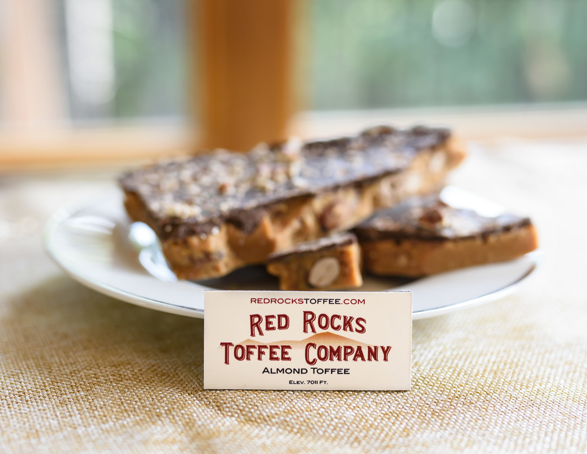 Toffee on Plate with Company Sign .jpg