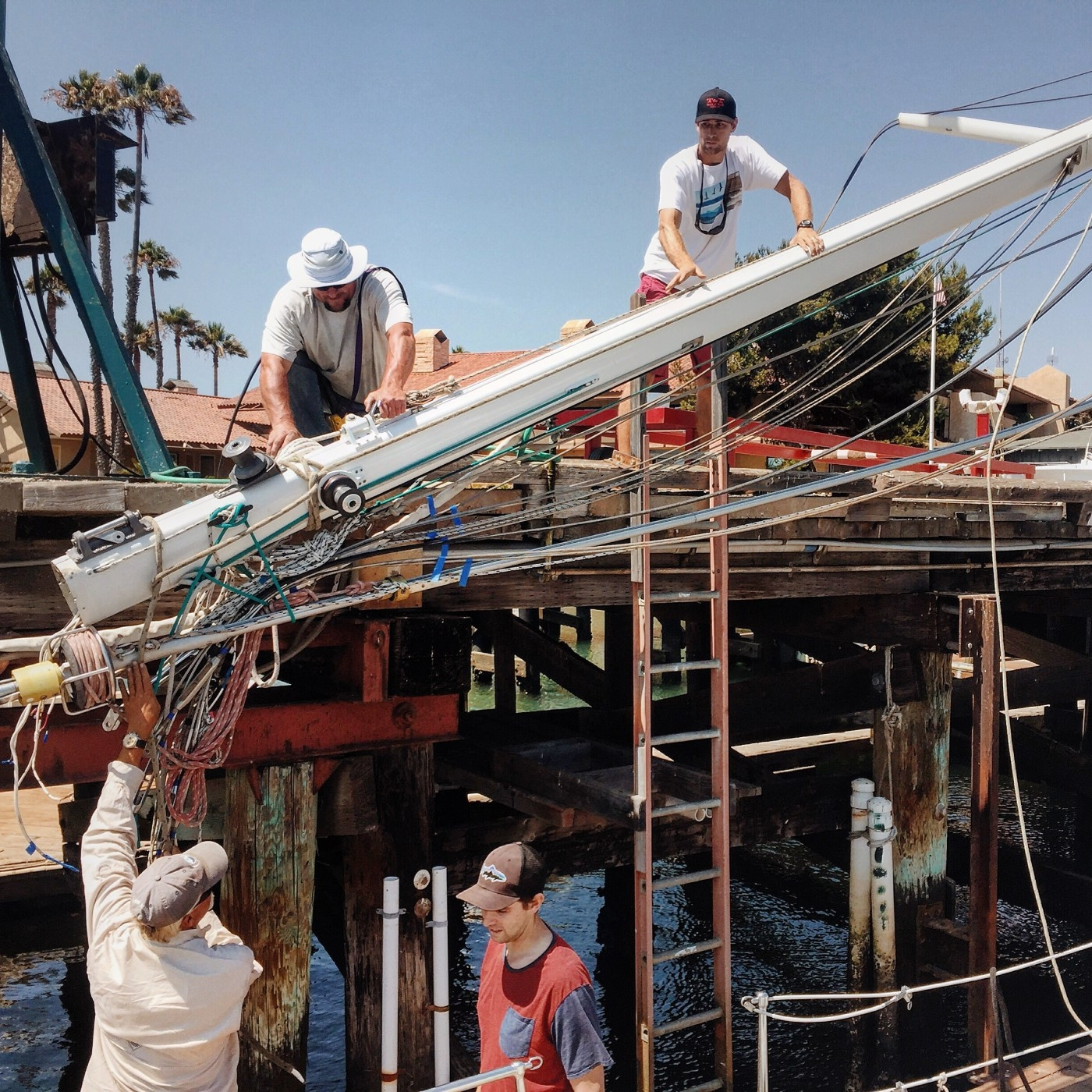 New Rigging - We really didn't know for sure how old the rigging was on Agape, or how she had been previously sailed. The rigging was oversized as it is on most cruising boats and seemed to be in fairly good condition but we wanted to know for sure before cruising the next few years.