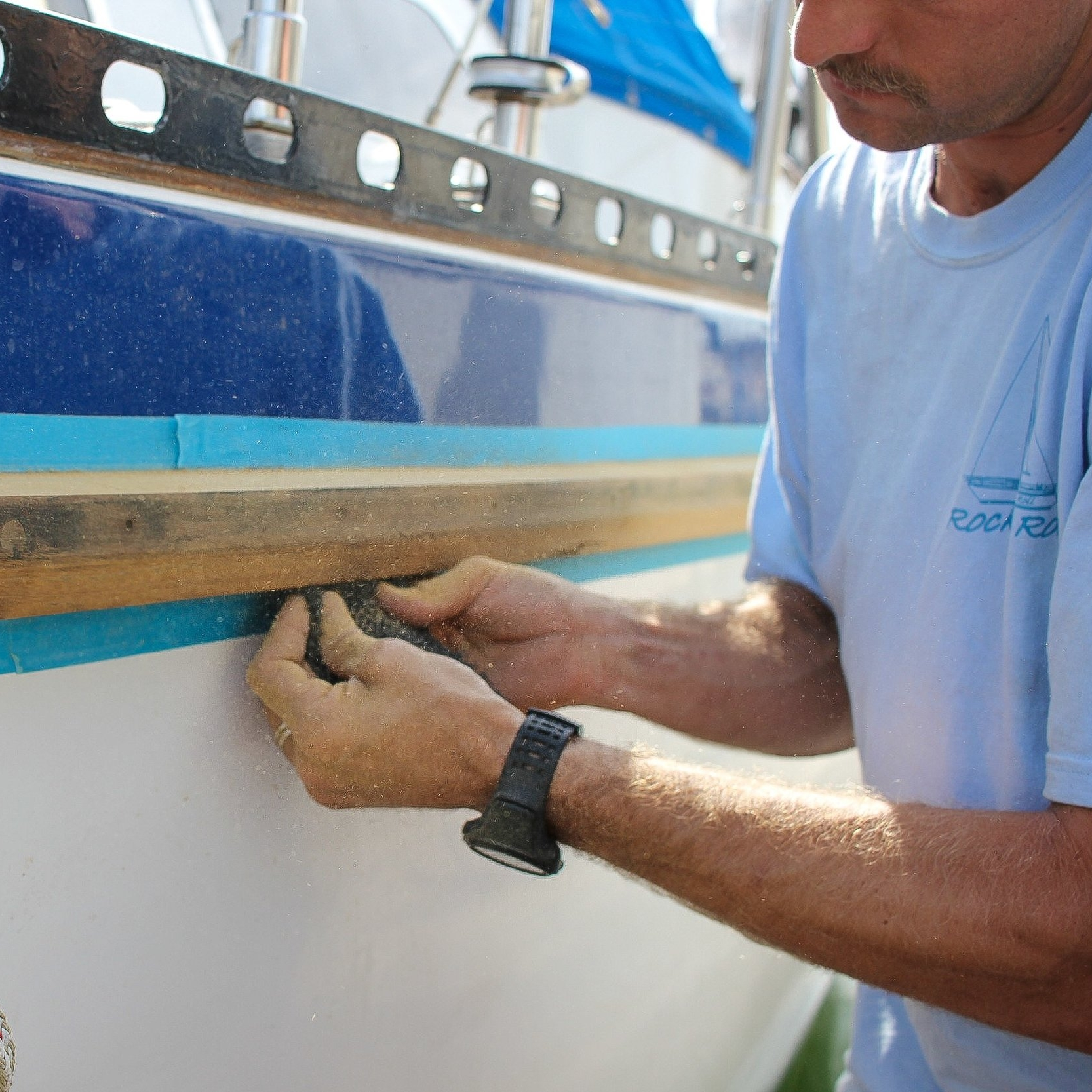 Bright Work!!! - 83 degrees, sunny, and beautiful….. Perfect for bright work! I have to admit, I thought that doing the rub rails was going to be a lot faster and easier than it turned out to be. Just like every other boat project…. But, it was a beautiful day with no wind and no surf, so why not?