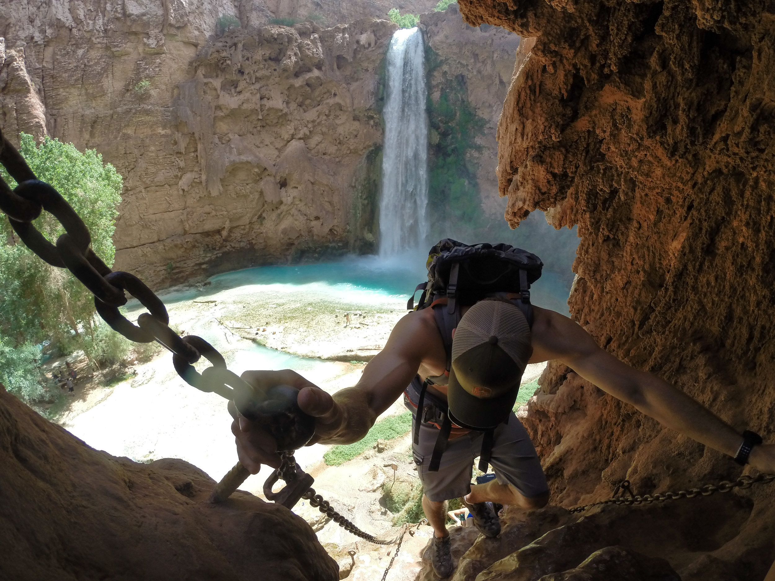 The only way down to Mooney Falls. A wet, muddy cliff face, fixed with chains and ladders to aid the descent.