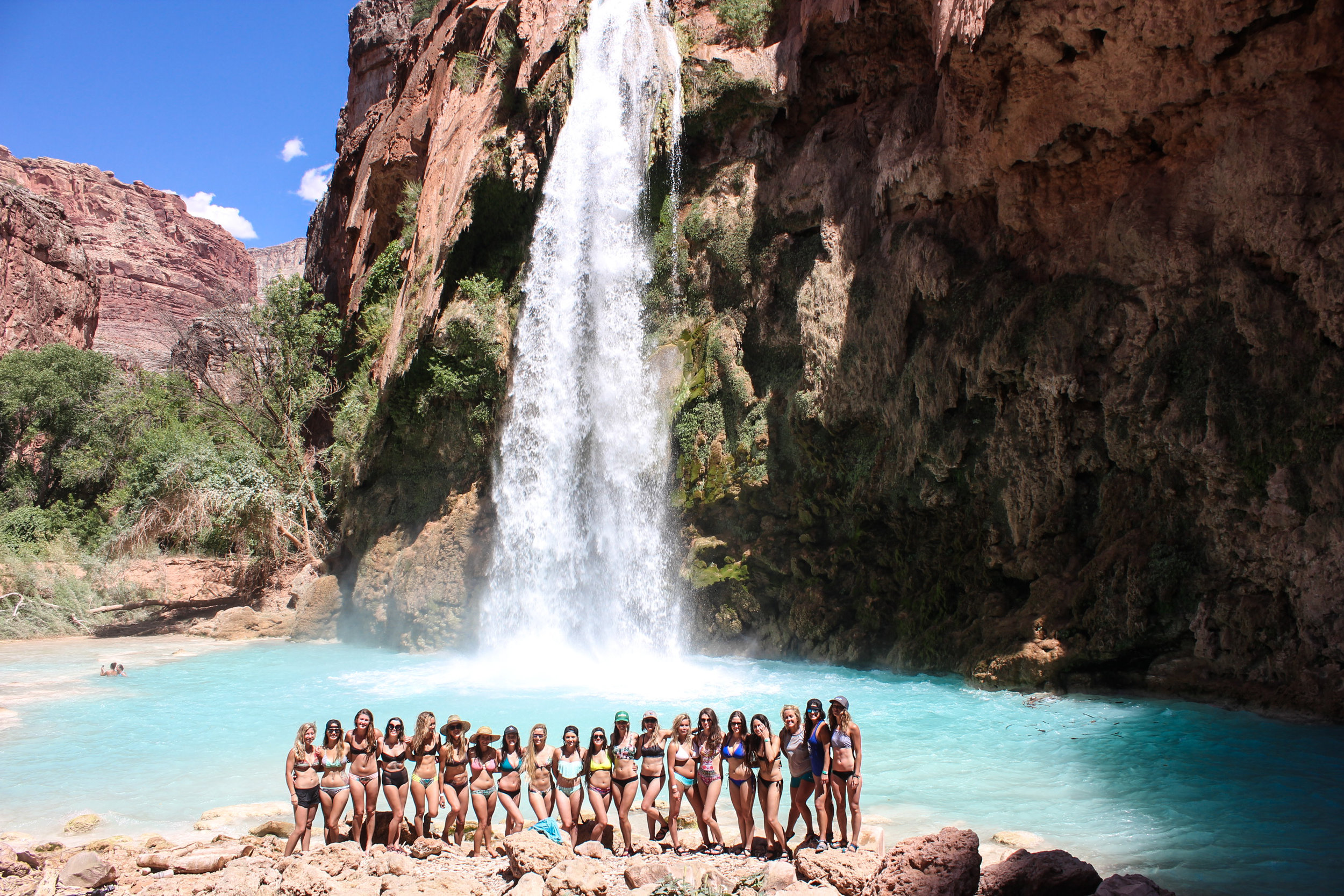 Just 20 adventure loving women and a stunningly blue 100ft waterfall. NBD.