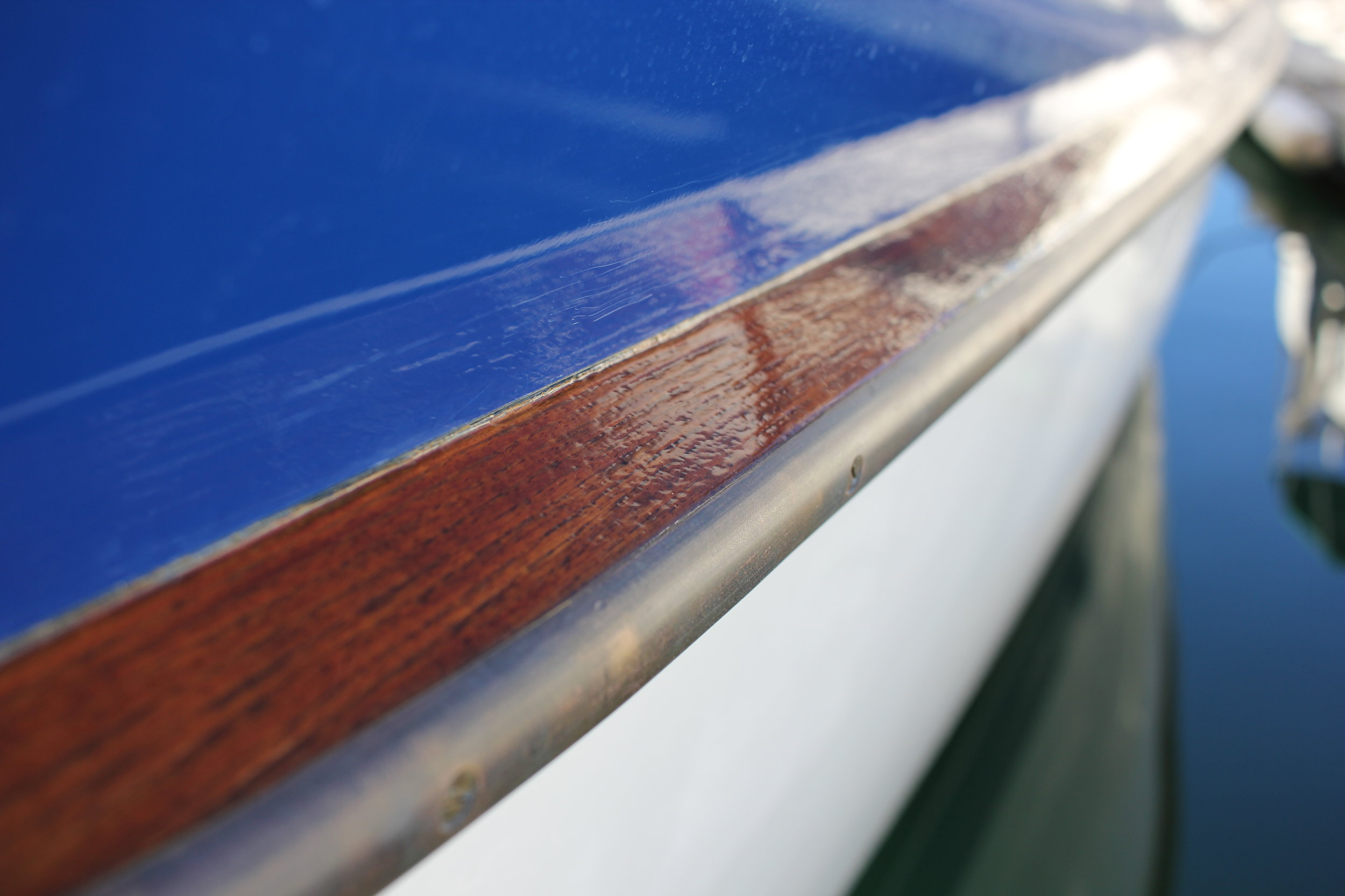 Shiny and bright! The rub rail is finally finished!