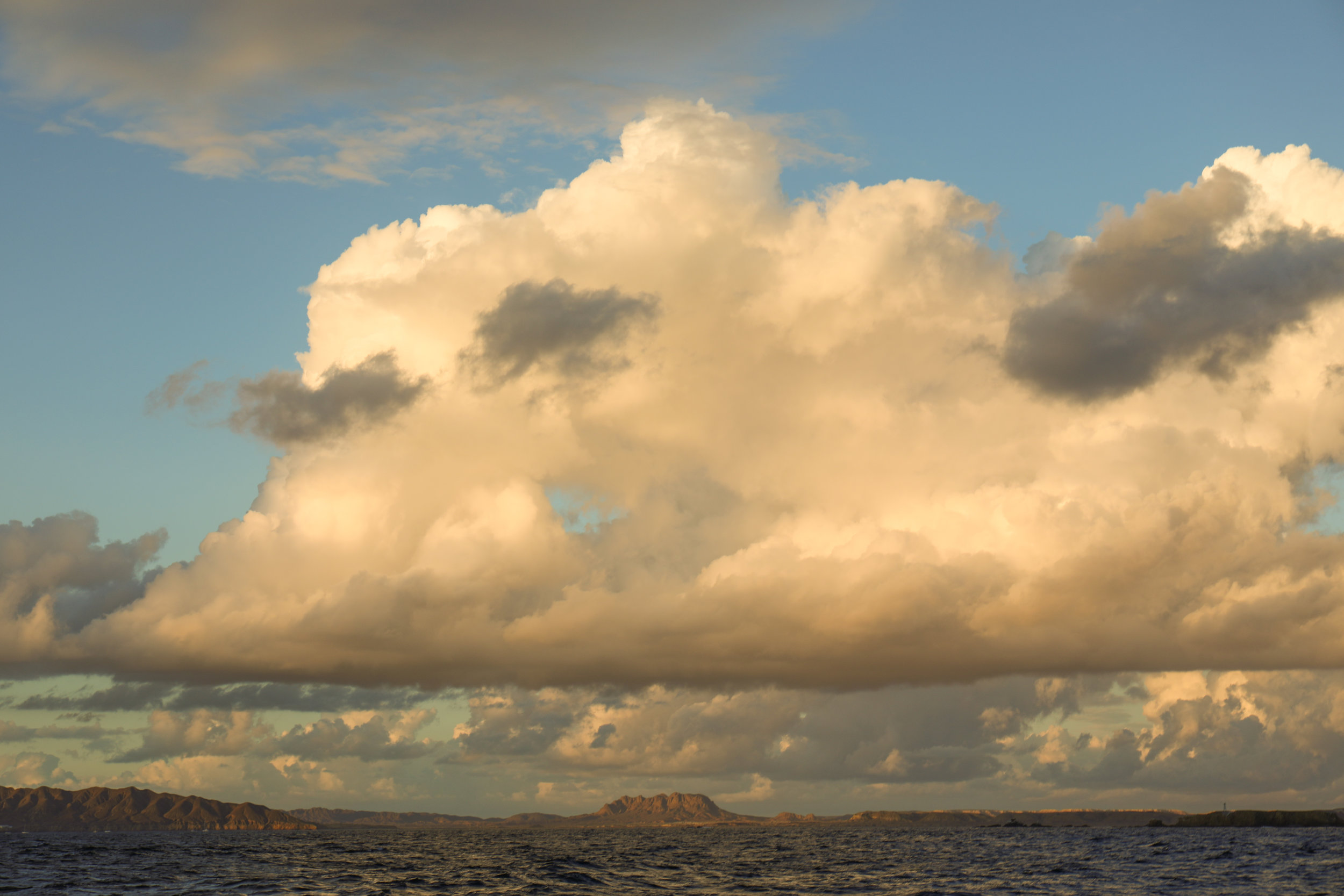 Leaving the bay at sunset for our overnight passage south.