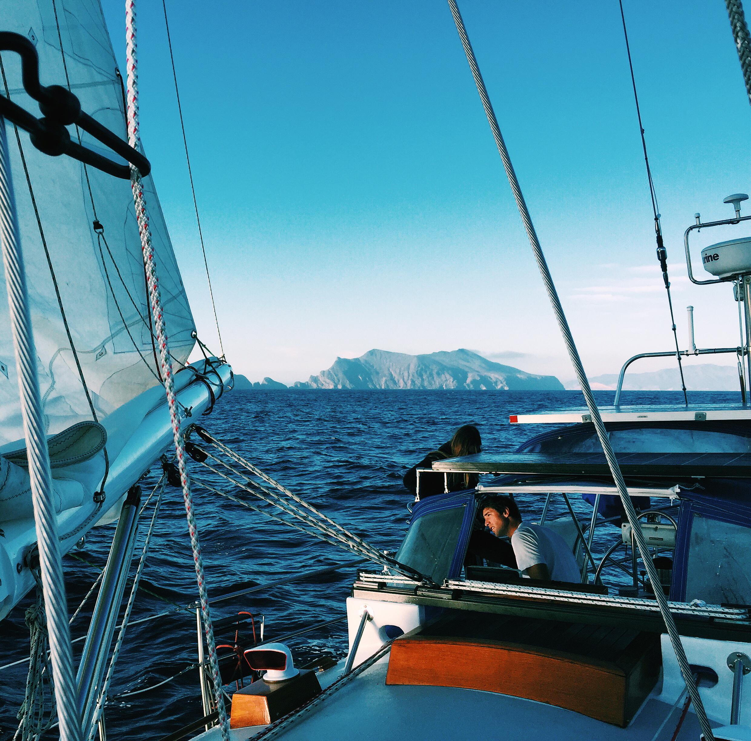 Sailing past Anacapa Island. Photo by Ben Brue .
