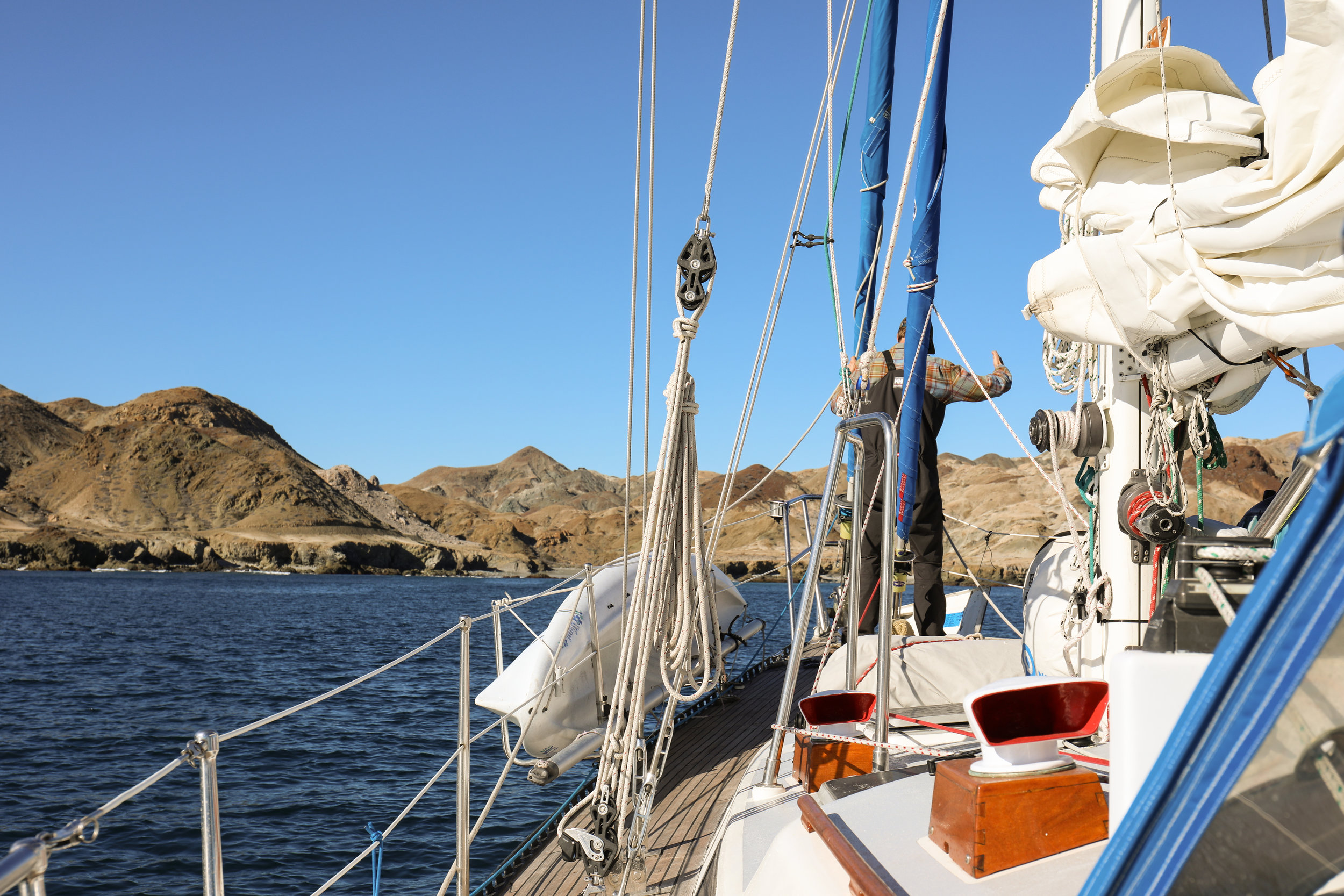 Trying to set the hook in the rocky southern anchorage of Cedros Island.