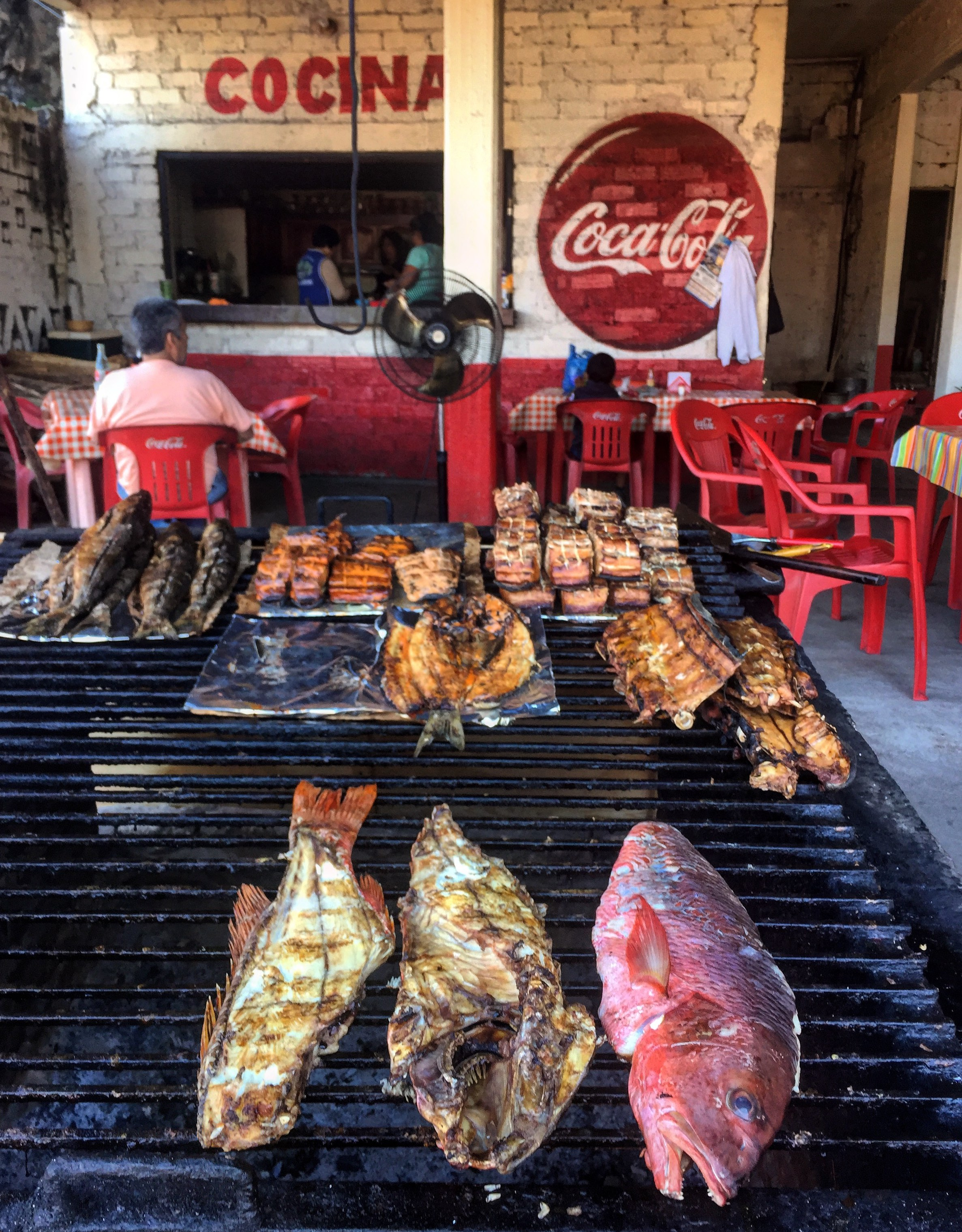 Typical lunch on the streets of San Blas.
