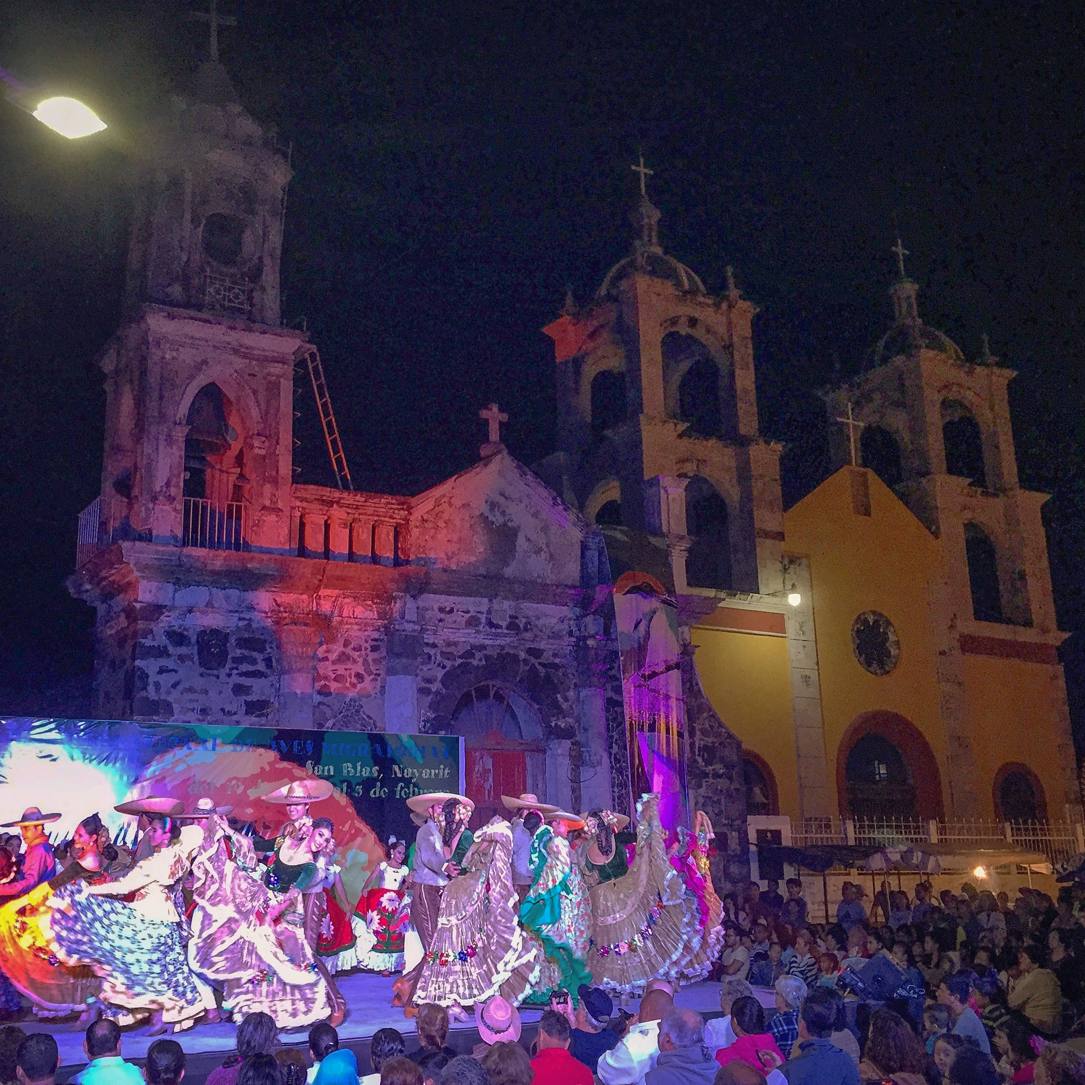 Festival in the town square celebrating the annual bird migration.