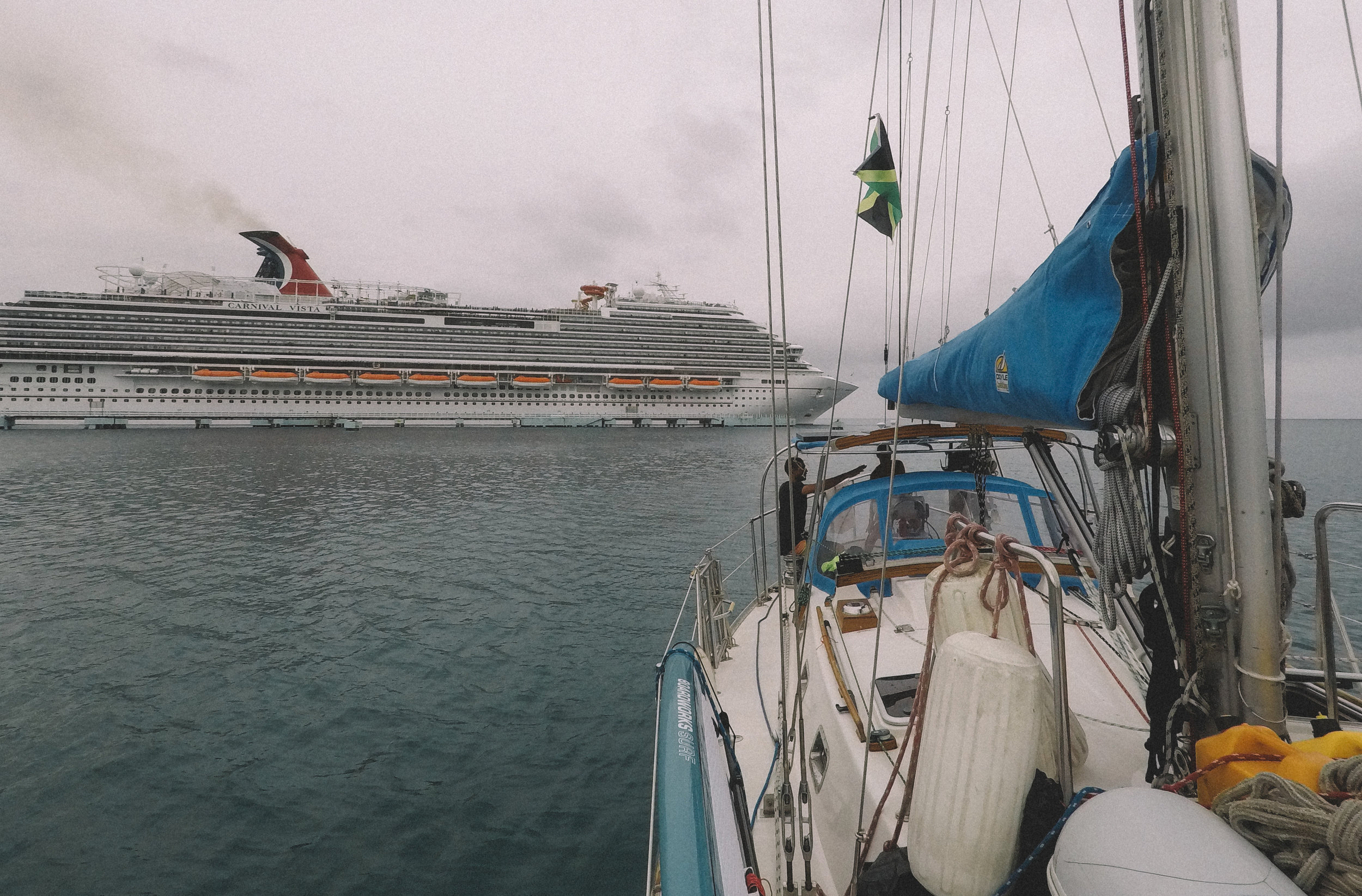 Anchored near one of the cruise ships in Montego Bay.