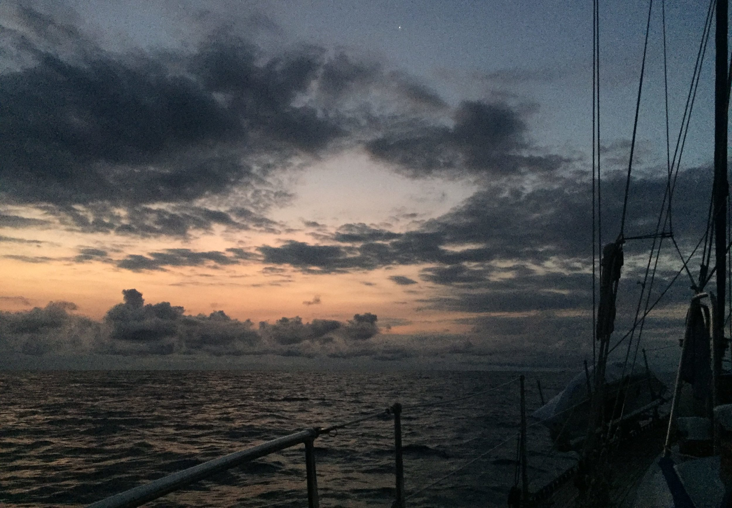 Motoring into our first night crossing the Gulf of Tehuantepec.