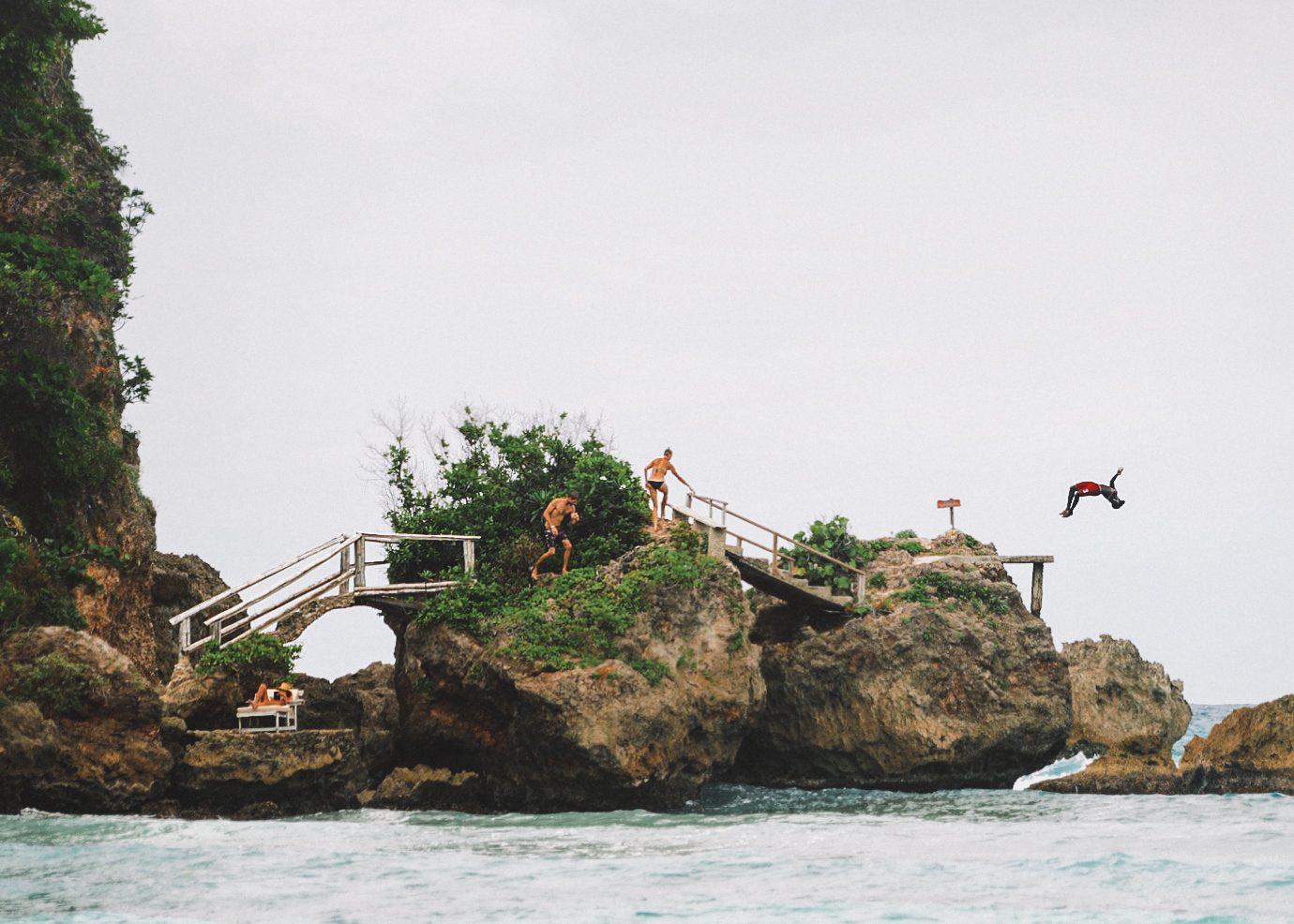 Rock jumping at Boston Beach.