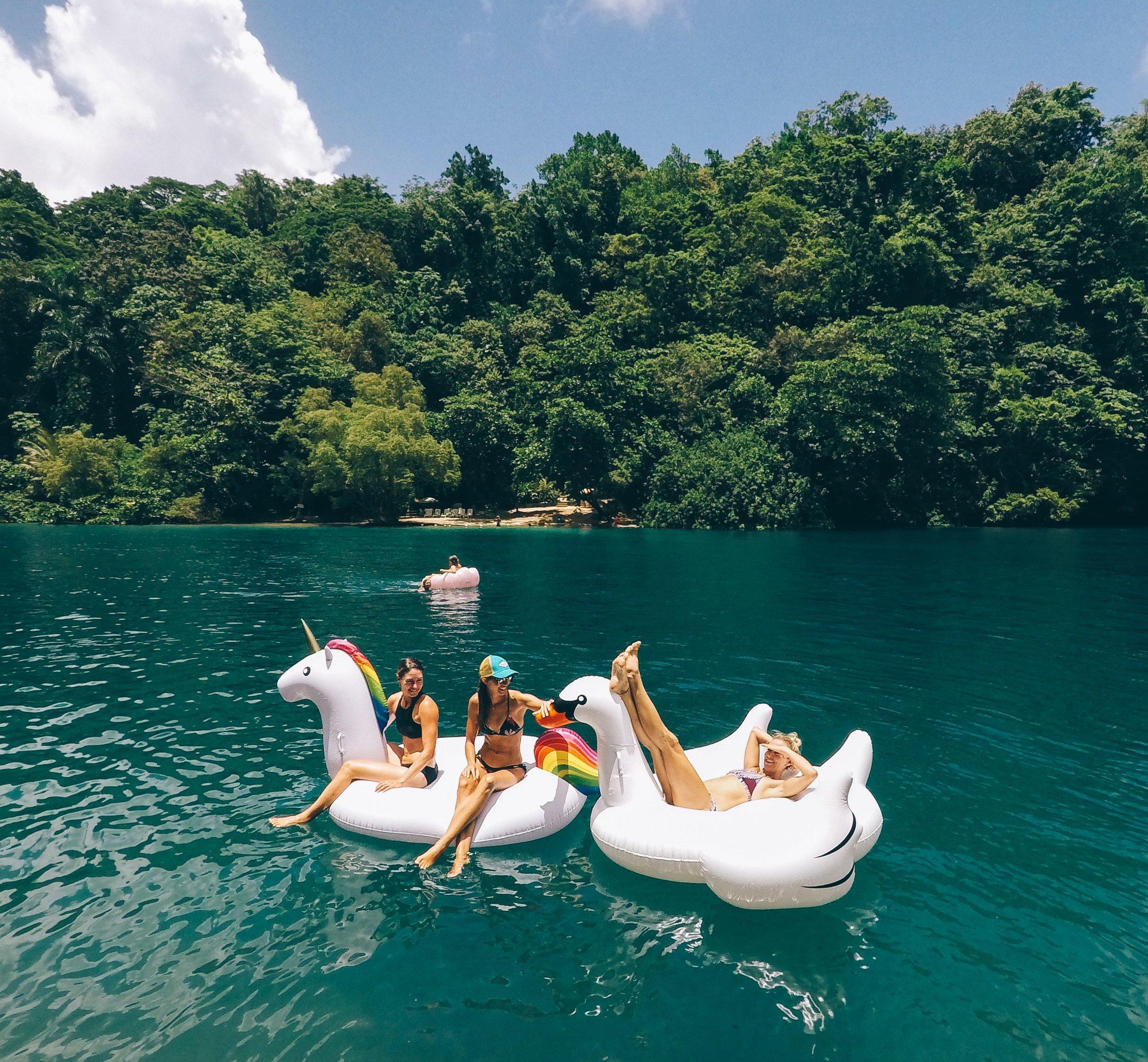 The ladies floating around the Blue Lagoon.