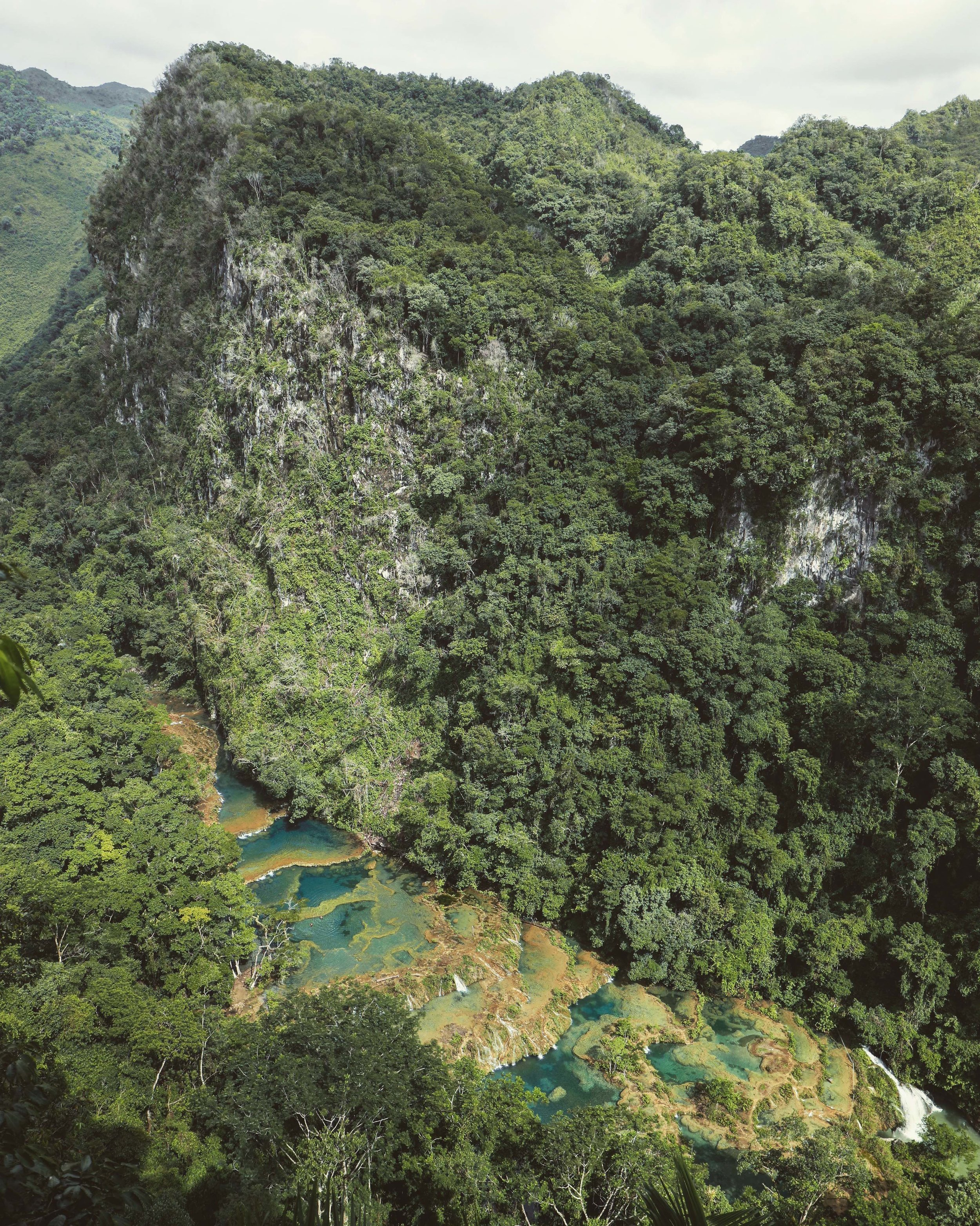 The view of Semuc Champey from the mirador.