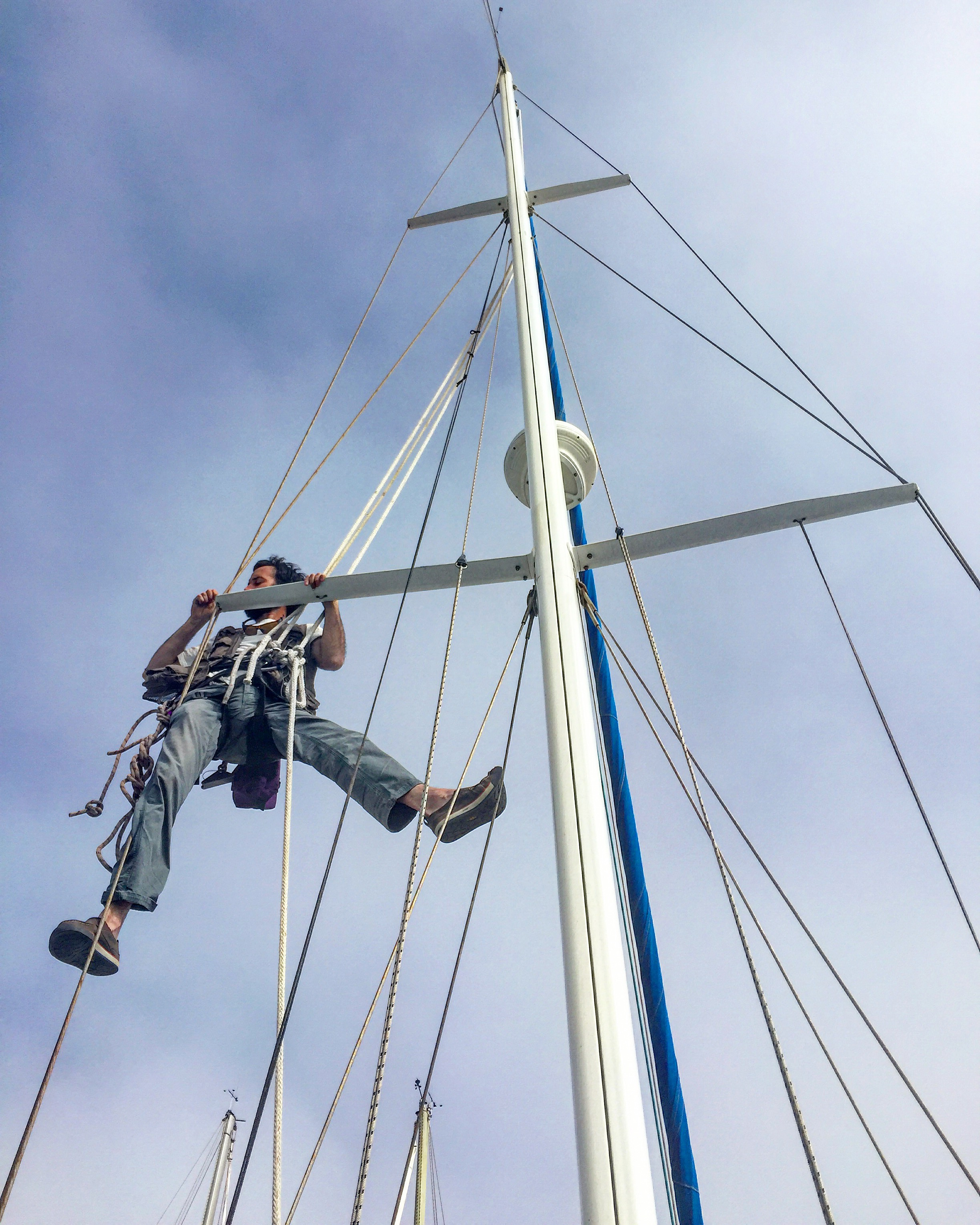 Ian inspecting our rigging.