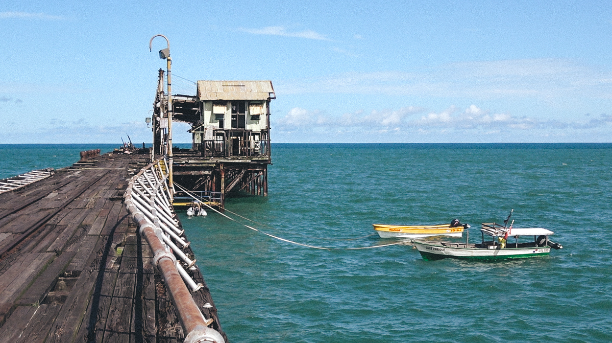 The dilapidated pier of Puerto Armuelles. Watch your step!