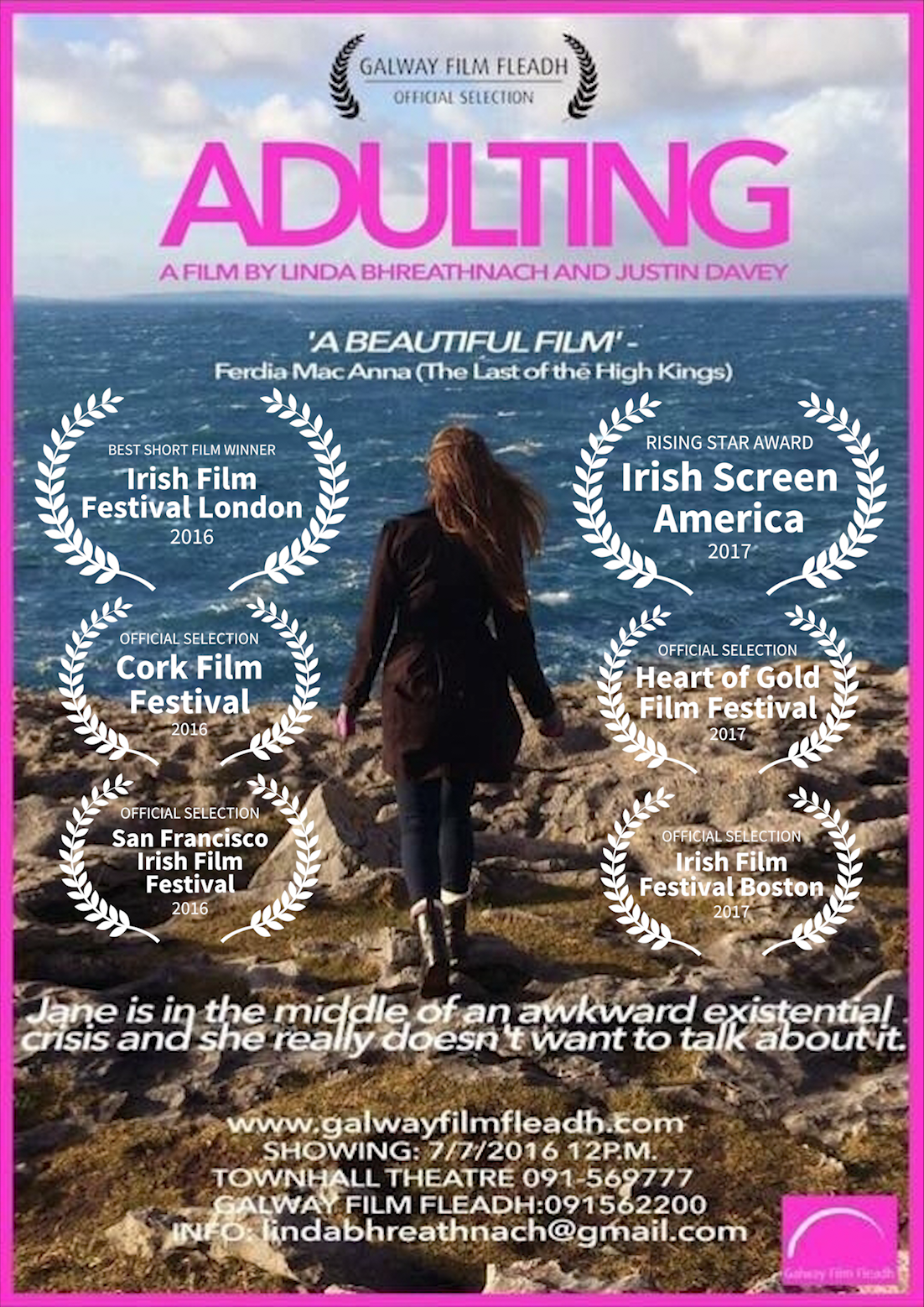 Adulting premiered at the Galway Film Fleadh 2016 and went on to screen at the Cork Film Festival 2016, San Francisco Irish Film Festival 2016, Irish Screen America 2016 (Los Angeles, San Francisco and New York), Irish Film Festival London 2016 (where it won Best Short Film), Irish Film Festival Boston 2017, Irish Film Festival Malta 2017, Mediterranean Film Festival Split Croatia, 2017, Female Eye Film Festival 2017, Toronto and the Heart of Gold Festival 2017 in Australia.