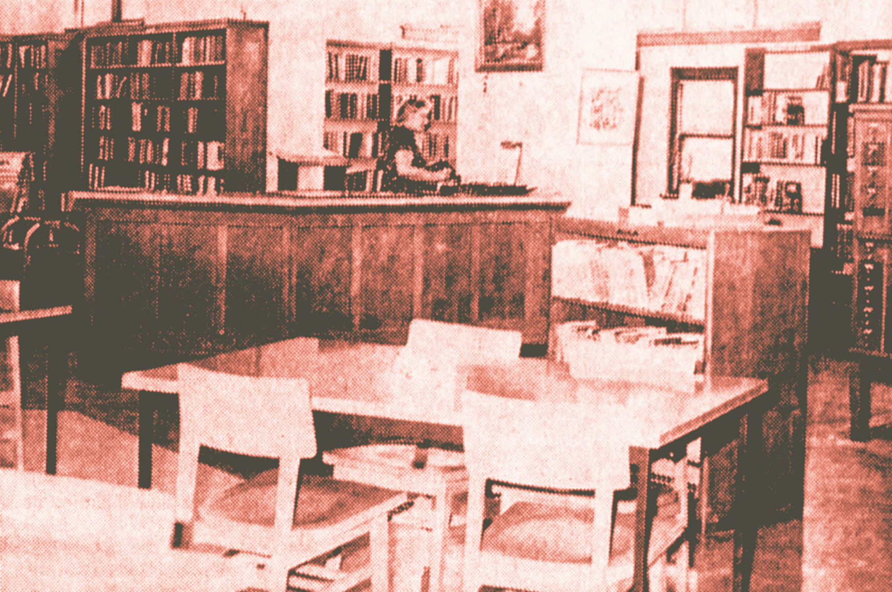 April 1964 interior view of Valparaiso's Carnegie Library, now site of the Porter County Public Library System's Valparaiso Branch.