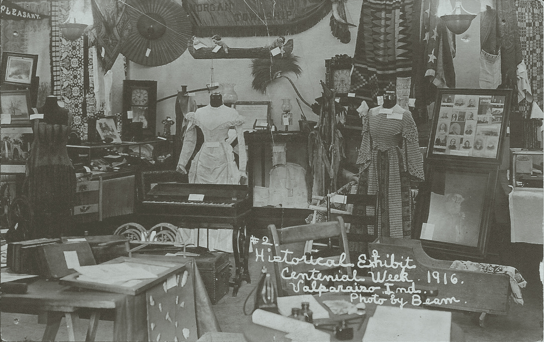 """Historical Exhibit, Centennial Week, 1916. Valparaiso, IN."""