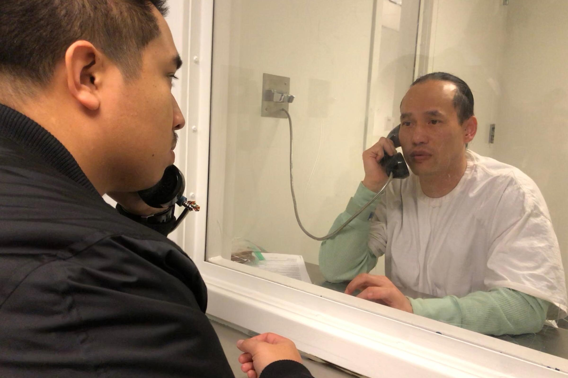 "Nathaniel Tan visiting Borey ""Peejay"" Ai while in ICE custody in Winter 2017."
