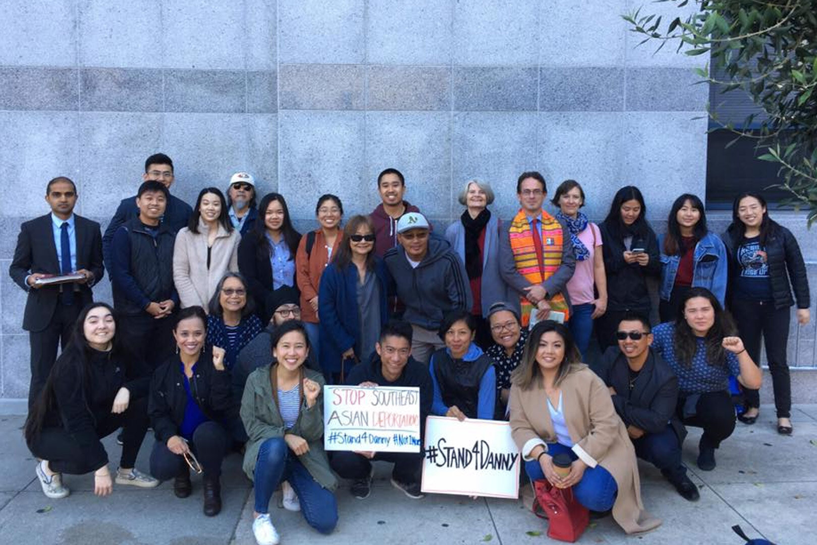 Bay Area community members supporting Somdeng Danny Thongsy #Stand4Danny at his ICE check-in in San Francisco.