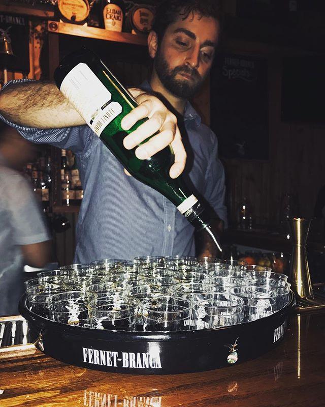 NC Fernet coin release party. @blindbarbour @fernetbranca @beeftide . . . . . #bartending #raleighdrinks #drunktown #downtownraleigh #fernet #fernetbranca #booze #digestif #cocktailculture #drinkthings #pourthings #stirthings #bartenderlife #barbitch #mission22