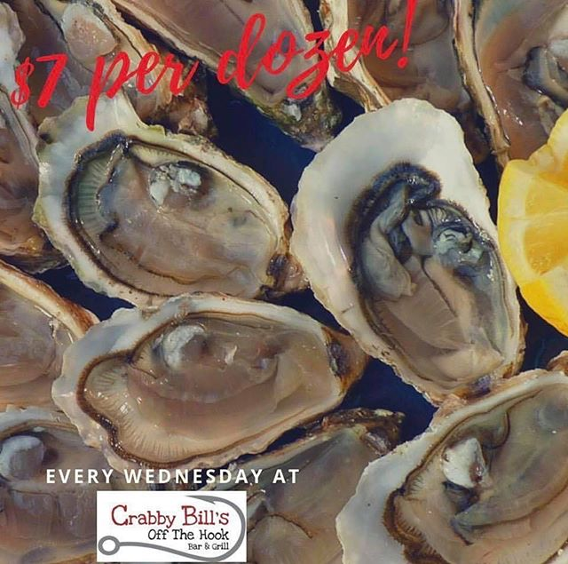 Wednesday is the day to get your oyster fix! • • • #crabbybillsoth #crabbybills #westchase #pinellas #hillsborough #happyhour #livemusic #tampabay #seafood #dontworrybecrabby #offthehook #tampa #the33626 #supportlocal #eatlocal #drinklocal #whatshappeningwestchase #tampafoodie