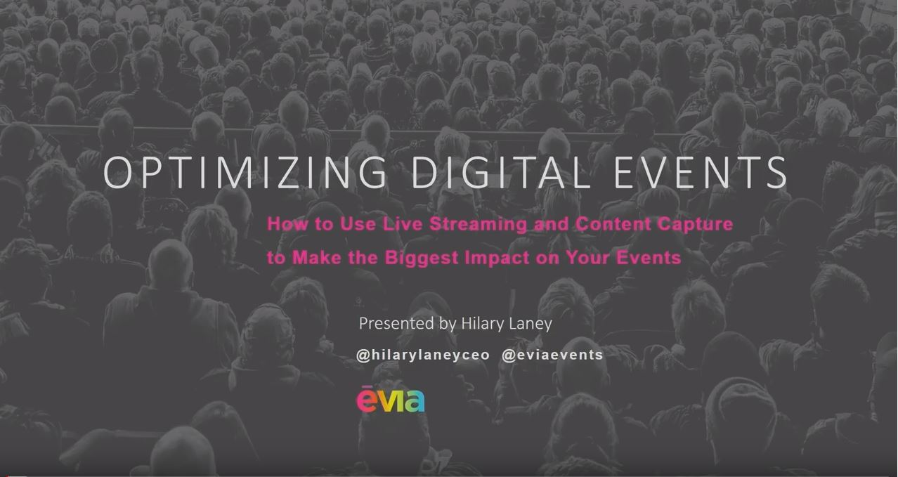 In this session from Hilary Laney delivered at MPI Cascadia 2019, Evia's CEO, learn how to create a digital strategy, how to make content more accessible, and how to maximize your investment in digital events.