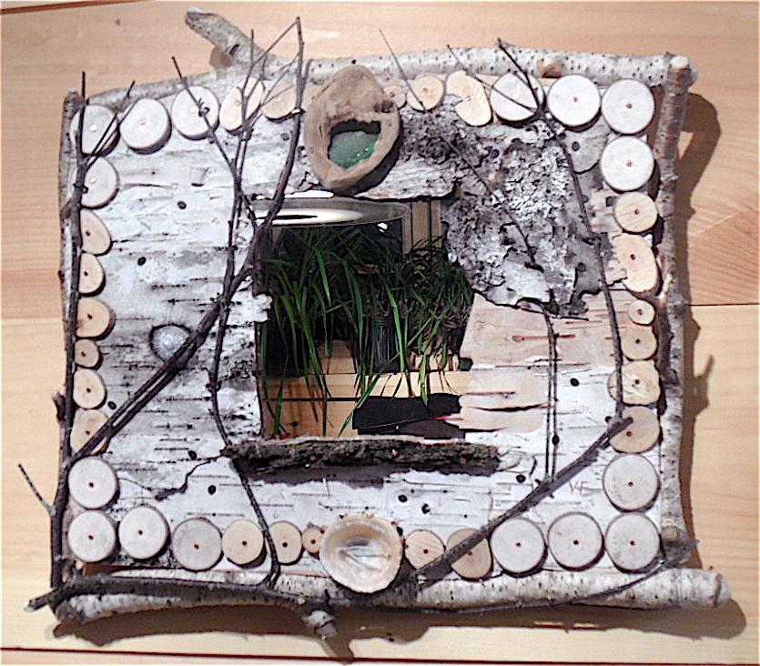 Tiny log frame.  MaineStickChick rustic creation — Mixed media.