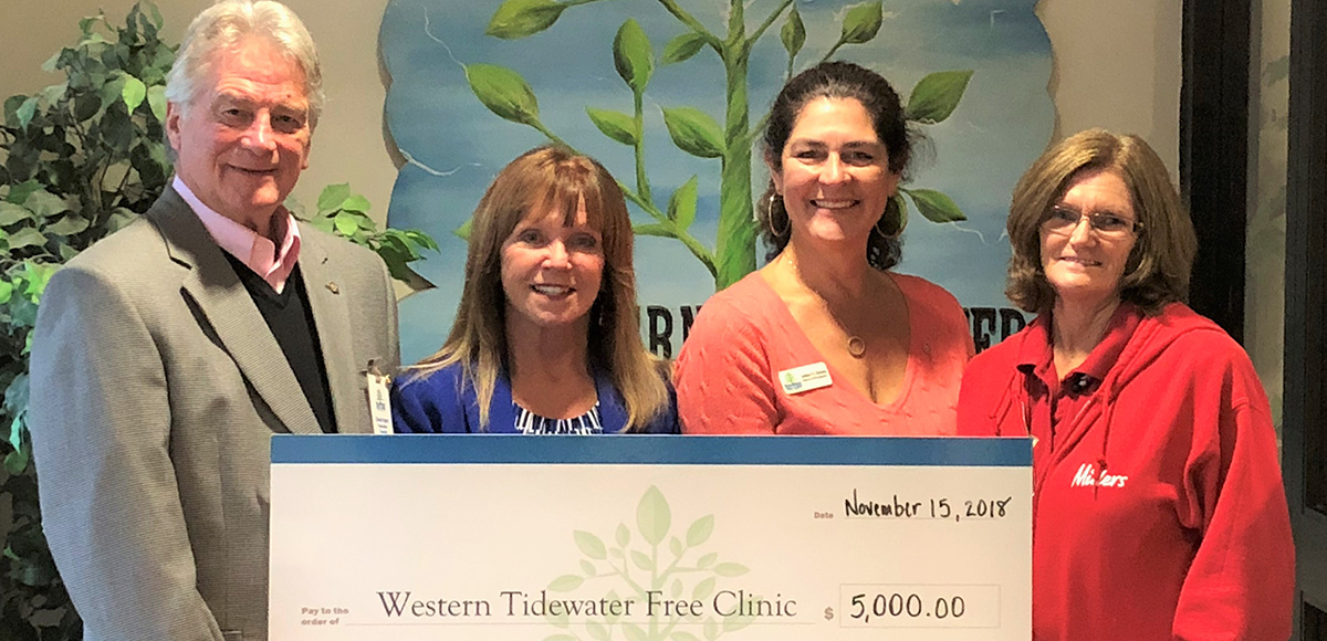 North Suffolk Rotarian Chet Hart with  Western Tidewater Free Clinic , one of many local charities that receive direct funding from our Public Event fund raisers.