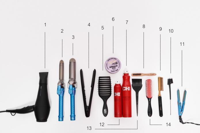 "1- Rusk Engineering Speed Freak Blowdryer  | 2 -BaByliss Pro Nano Titanium 1"" Curling Iron  |   3- BaByliss Pro Nano Titanium 1 ½ "" Curling Iron  | 4- BaByliss Pro Nano Titanium 1"" Straightening Iron  | 5- Wet Brush Pro Flex Dry Paddle Brush  | 6- Ebin New York 24-hr Edge Tamer (Extra Firm Hold)  | 7- Chi Helmet Head Hairspray  | 8- Annie Wooden Edge Brush (Cleaning Brush #2099)  | 9- Annie Electric Straightening Comb  | 10- Edge Control/Eyebrow Comb and Brush  | 11- BaByliss Pro Nano Titanium ½"" Mini Straightening Iron  | 12- Chi Shine Infusion Hair Shine Spray  | 13- Tint Brush  | 14- Denman Nylon Bristle Brush"