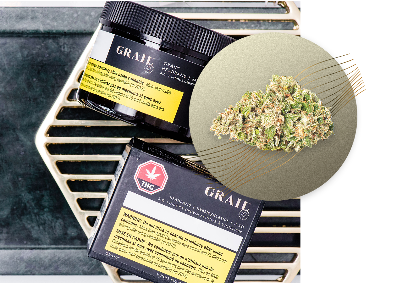 Headband - Inspired by potent effects and a cerebral high, Grail Headband is a cross of two favourites: OG Kush, and Sour Diesel. Flavours are of citrus & diesel.SATIVA High PotencyIndoor Grown, Dried Cannabis Flower: 1g, 3.5g, 15gTERPENESCaryophyllene, Nerolidol, LimoneneFLAVOUR PROFILEEarthy, Diesel, Citrus