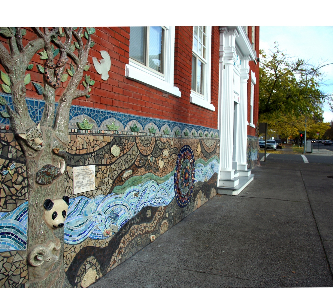 The Salem Peace Mosaic is located at 695 Court St. NE, in downtown Salem, Oregon.