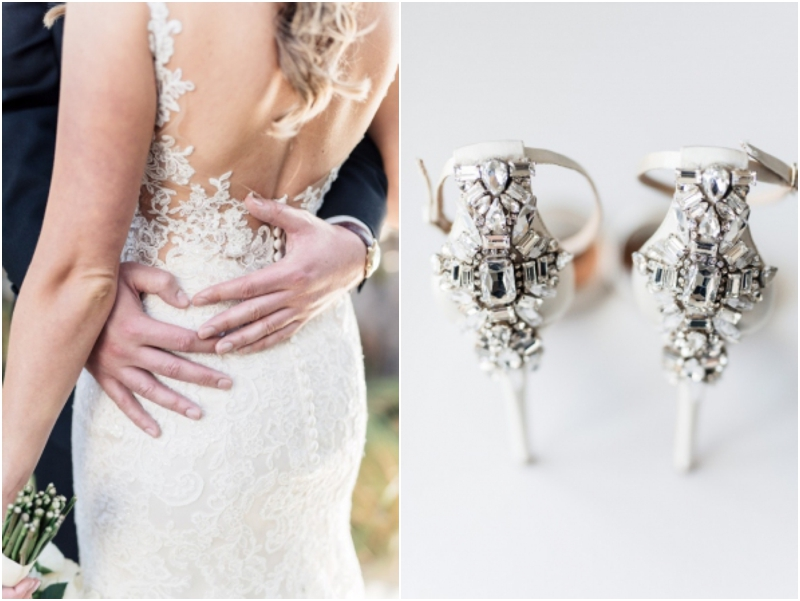 jeweled wedding shoes and beautiful wedding gown for beach wedding