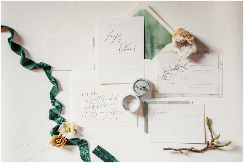 Earth tone invitation suite with velvet accents
