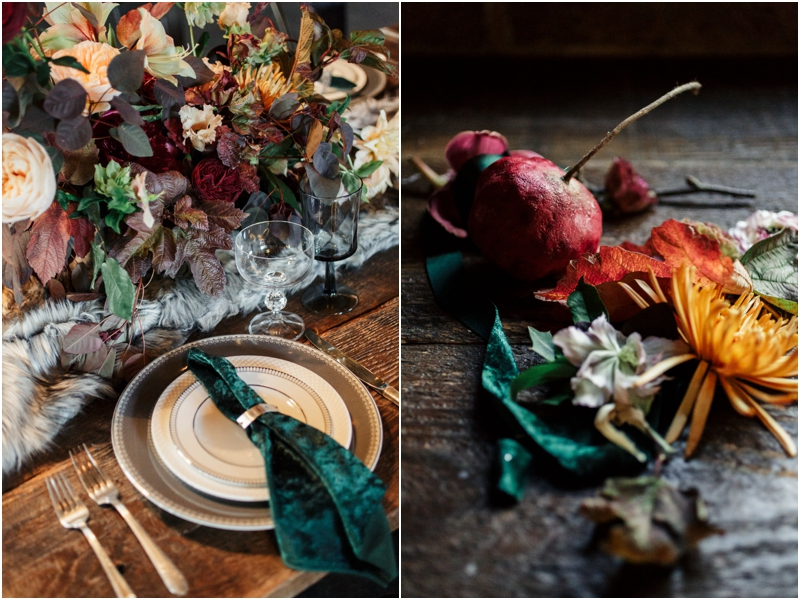 tabletop details at holiday wedding