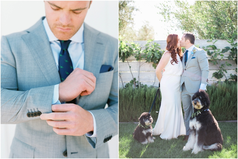 handsome groom gets ready and kisses bride with dogs by his side
