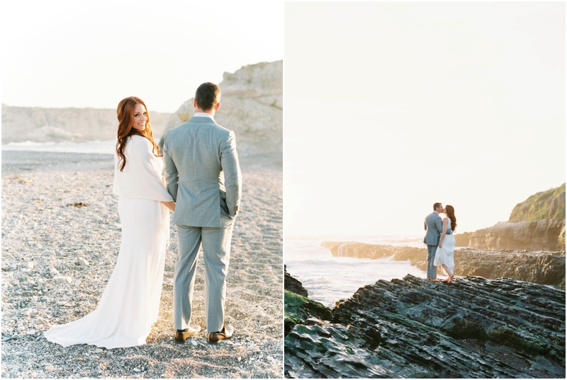 montana de oro state beach sunset photos with bride and groom on rocks