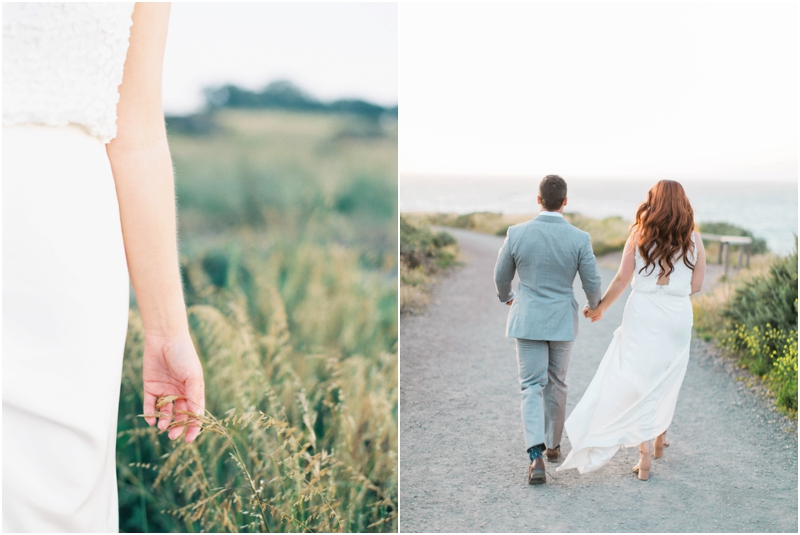 bride and groom walking through fields by central california coastline
