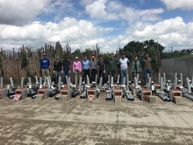 Students beginning the process of constructing clean cookstoves in Segunda Cruz