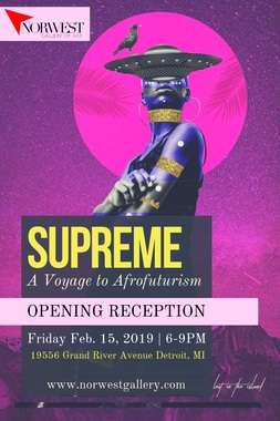 "19556 Grand River Ave Detroit, MI 48223    SUPREME  is a multidisciplinary art exhibit that depicts the cultural aesthetic of Afrofuturism, as a developing collision of technology with African Diaspora. This show is a celebration of culture and creativity through the exploration of futuristic elements.  CLOSING MARCH 9      Franchesca Lamarre's debut film, ""A Good Cry"", will be showing at the closing of the ""SUPREME, a Voyage to Afrofuturism"" show. The Gallery will also be celebrating it's one year anniversary at the closing on Saturday March 9th, from 10am until 10pm.   In the summer of 2018 ,  Franchesca premiered her debut film  ""A Good Cry""  centered on the navigation of colorism through ancestral healing and movement.   Watch It Here!   https:// vimeo.com/280274500   The exhibition features work by Adeyemi, Rachel Adreinola Oye, James Nelson, Ifoma Stubbs, Stone, Vonmash, Asia Hamilton, Steven Mealy, and Matthew Corbin."