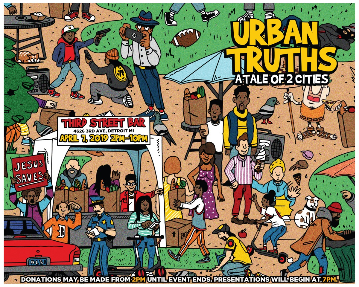 "4626 3RD AVE, DETROIT, MI, 48201 SUNDAY, APRIL 7TH, 2019 2PM-10PM    URBAN TRUTH'S: A TALE OF TWO CITIES   ""We continue to progress with technological advancements, the building of skyscrapers, and new arenas. But we as a city have failed those who are less fortunate. Many families in Detroit are just a paycheck away from being homeless. We have a duty to shed a major light on this issue. With this approach, we while use art and graphics to convey a strong message. We will also be collecting clothes and canned goods at the event.""   Curator, Ambreia Stephens    Franchesca will be showing some new mixed media photography articulating a familial Detroit's east side narrative; in conversation with displacement violence and the illegal actions surrounding the city's foreclosure imbalances."