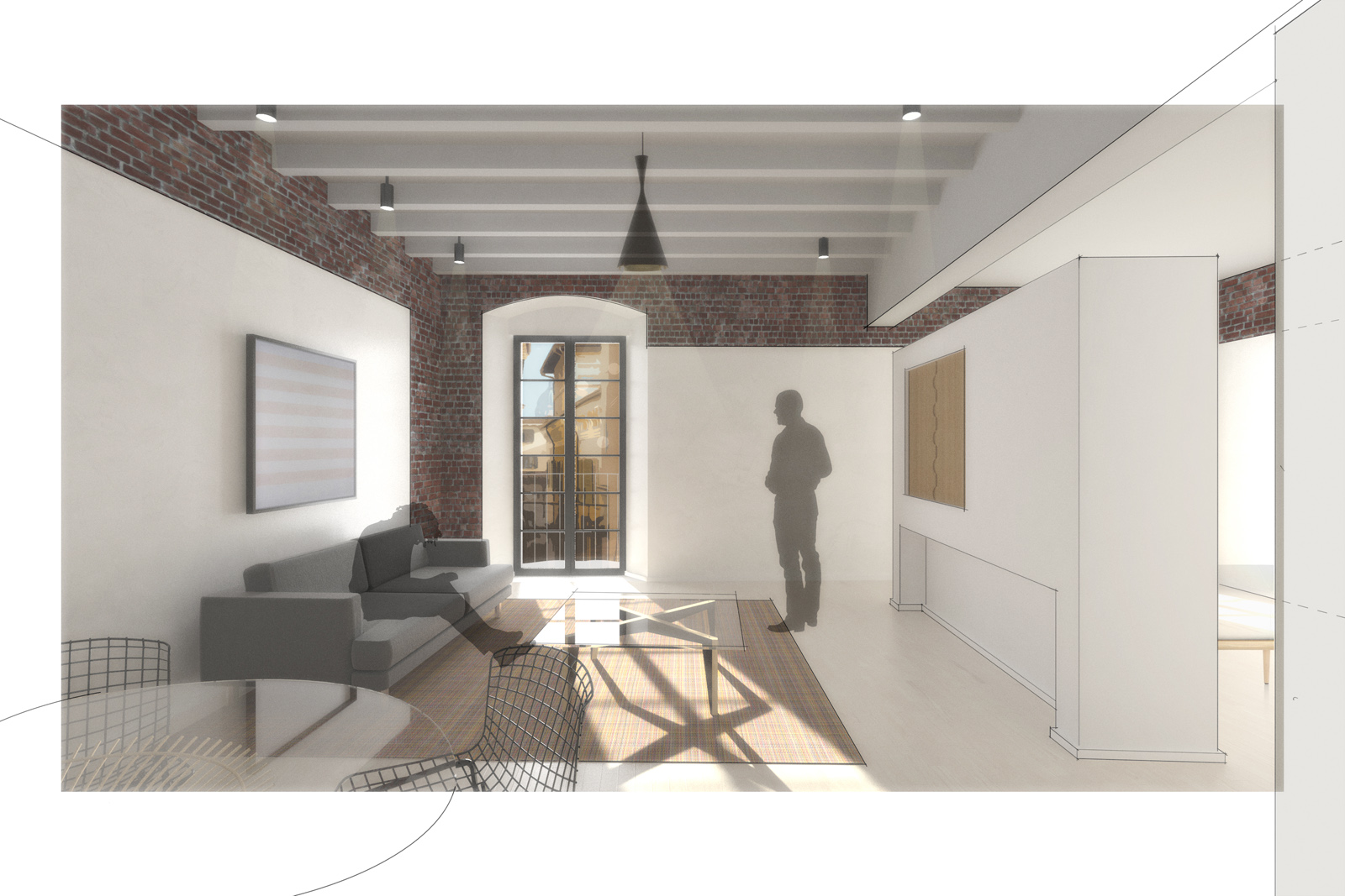 Rendering of the Calza Studio Apartment.