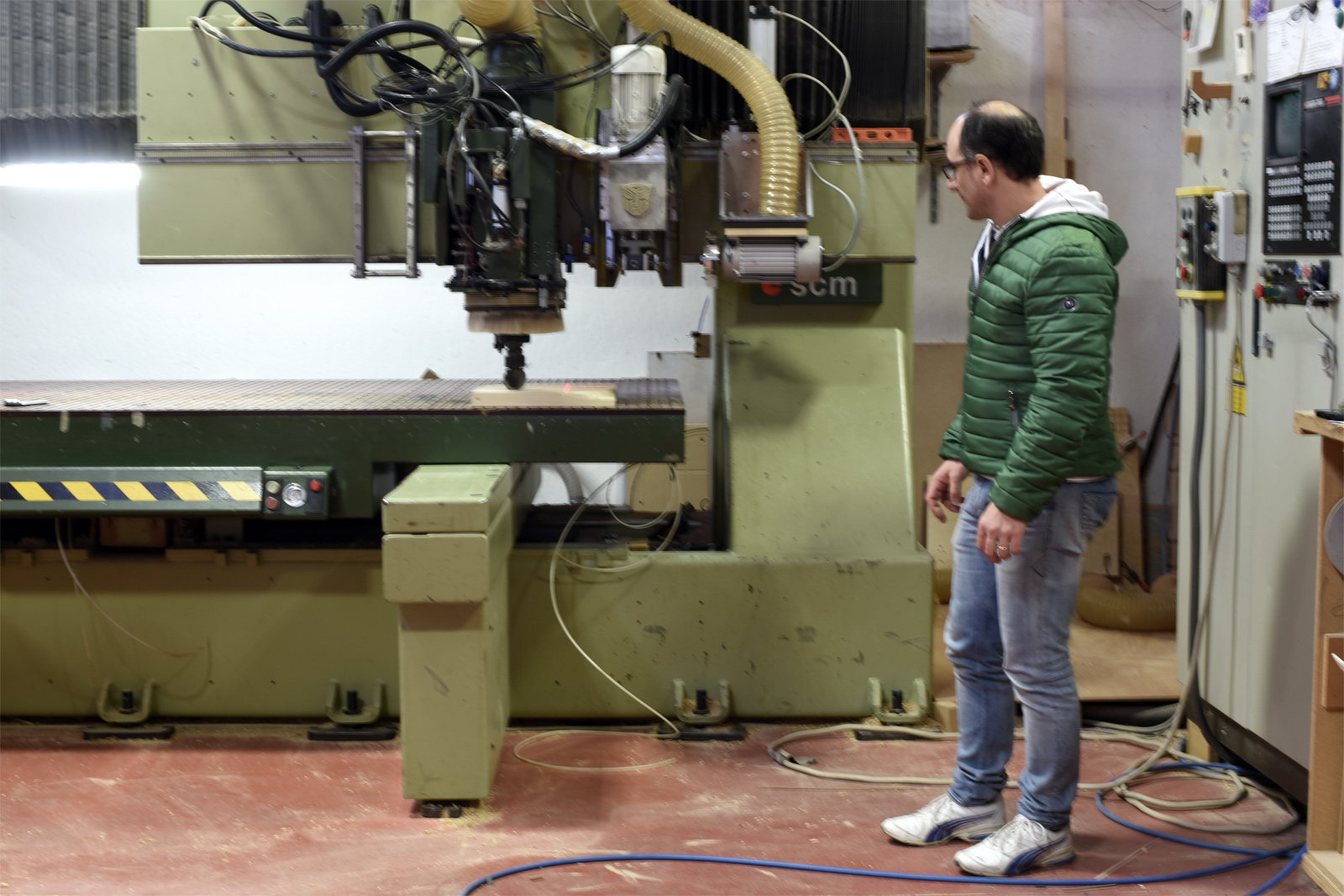 CNC router being set up for a job.