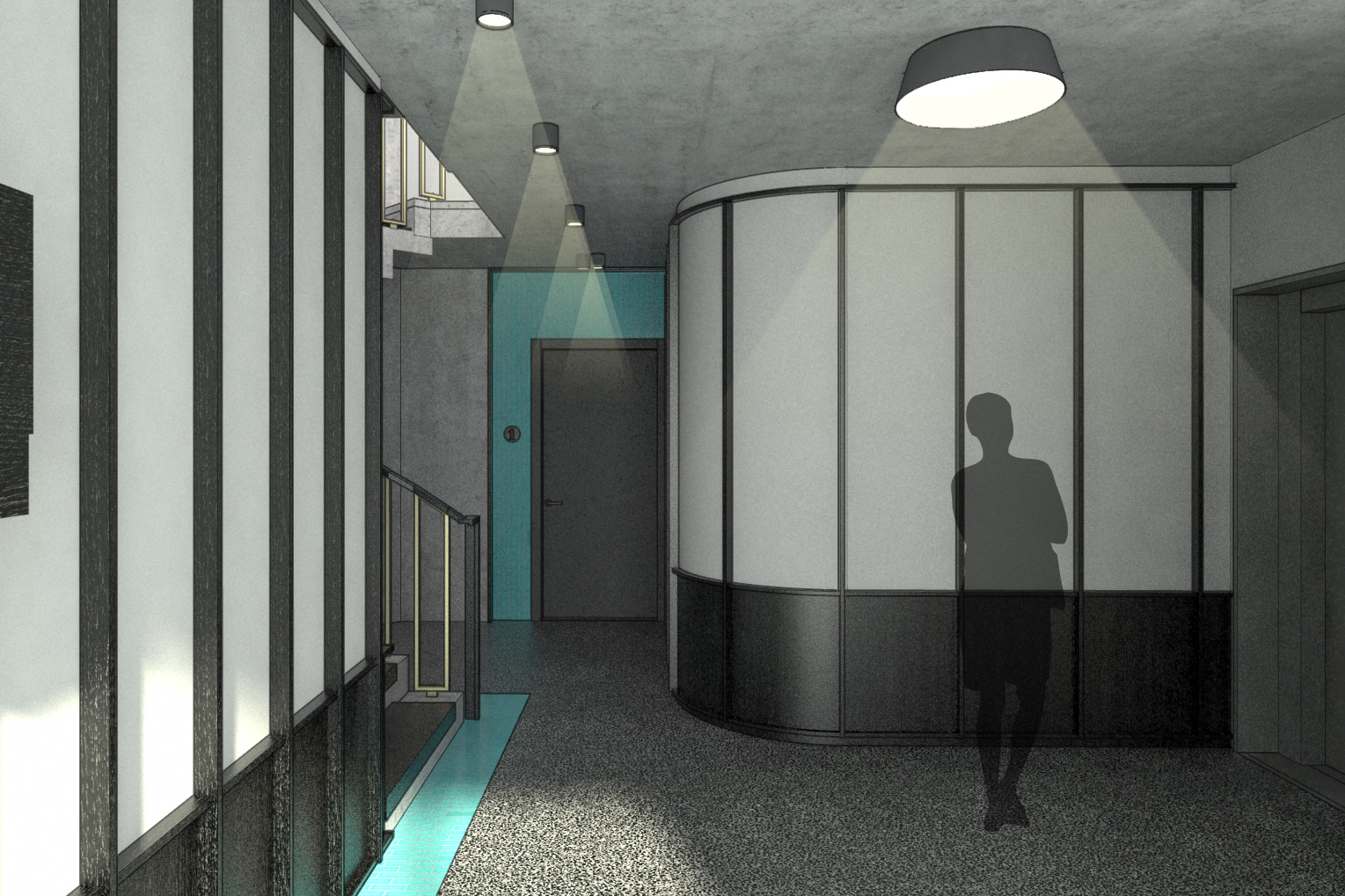 Entry View and Elevator Lobby