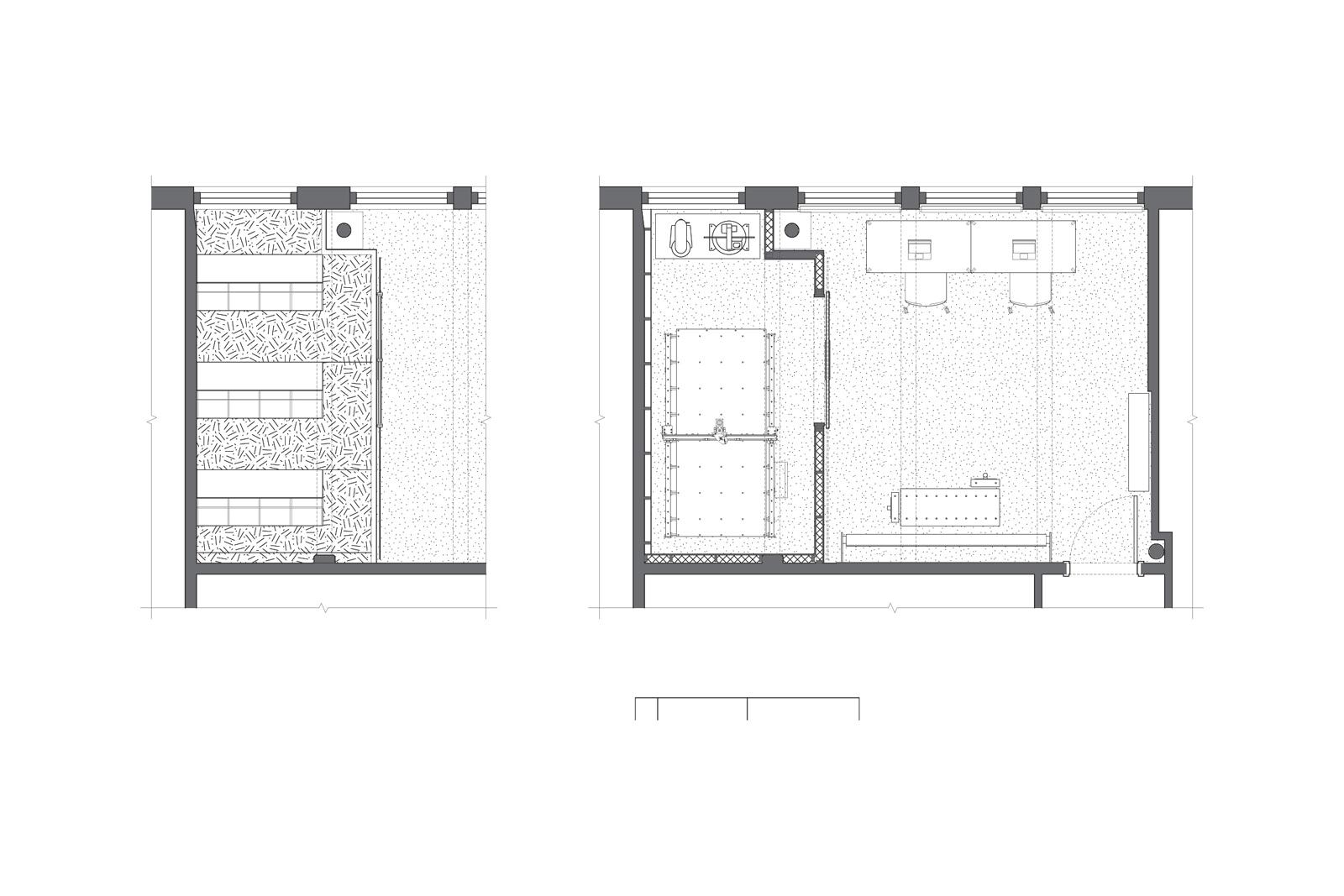Floor plan of office and storage mezzanine
