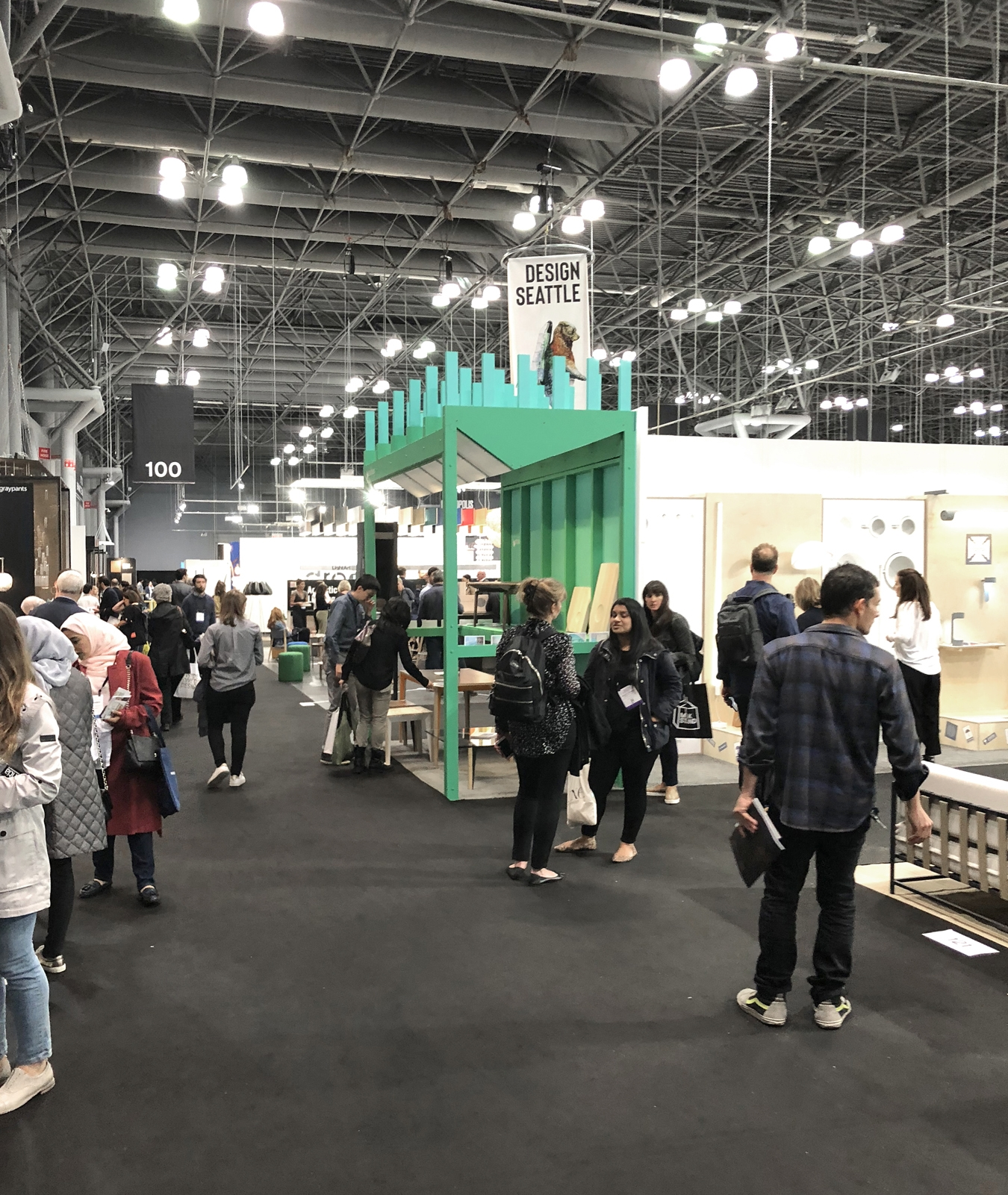 Side view of the booth in context.